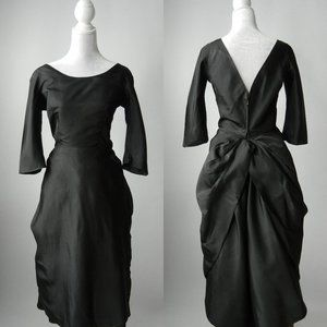 Vintage 1950s Black Silk Couture Dress